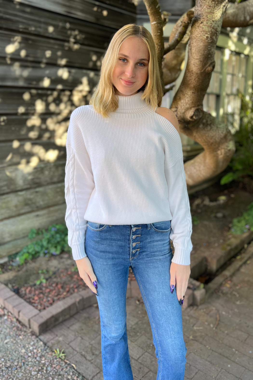 Elan  Louise One Shoulder Sweater - Front Cropped Image