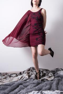 Loula by Zermeno Embroidered Wine Dress - Product List Image