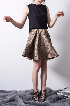 Loula by Zermeno Golden Brocade Skirt - Product List Image