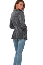 AS by DF Lounge utility jacket in burnout french terry - Front full body