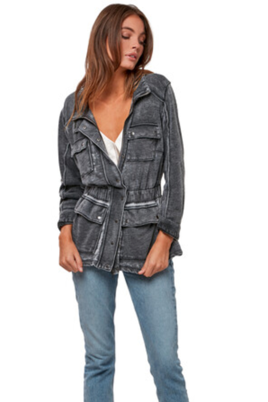AS by DF Lounge utility jacket in burnout french terry - Main Image