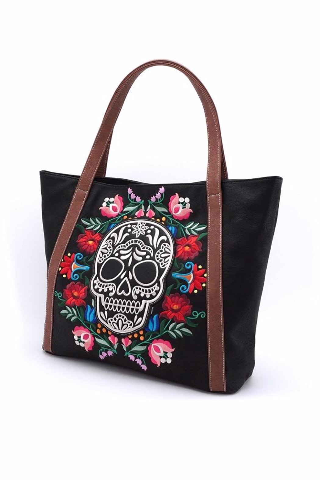 Loungefly Floral Sugar Skull Tote - Side Cropped Image