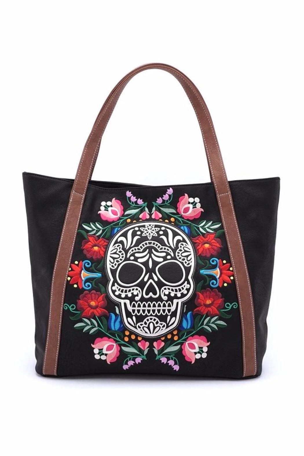 Loungefly Floral Sugar Skull Tote - Main Image
