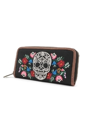 Loungefly Floral Sugar Skull Wallet - Front full body