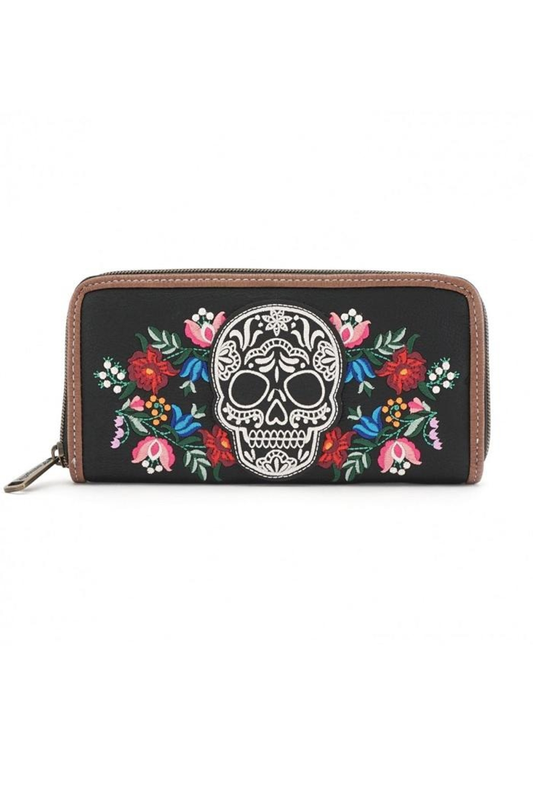 Loungefly Floral Sugar Skull Wallet - Front Cropped Image