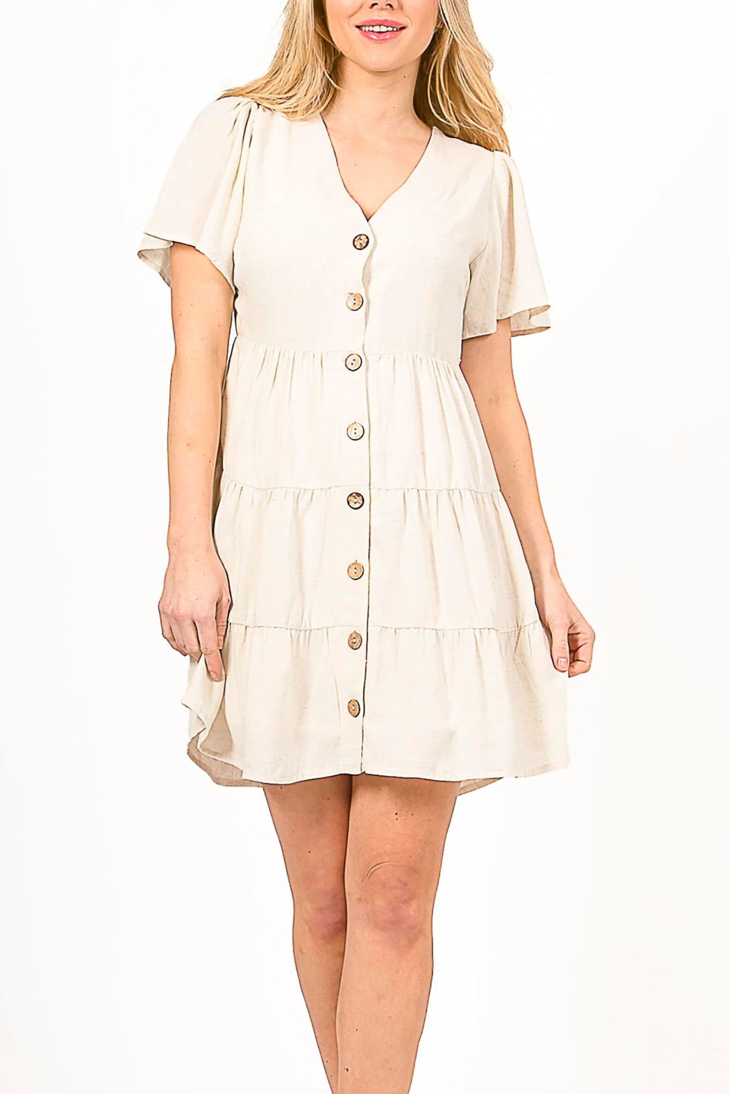 LoveRiche Lov Linen Dress - Front Cropped Image