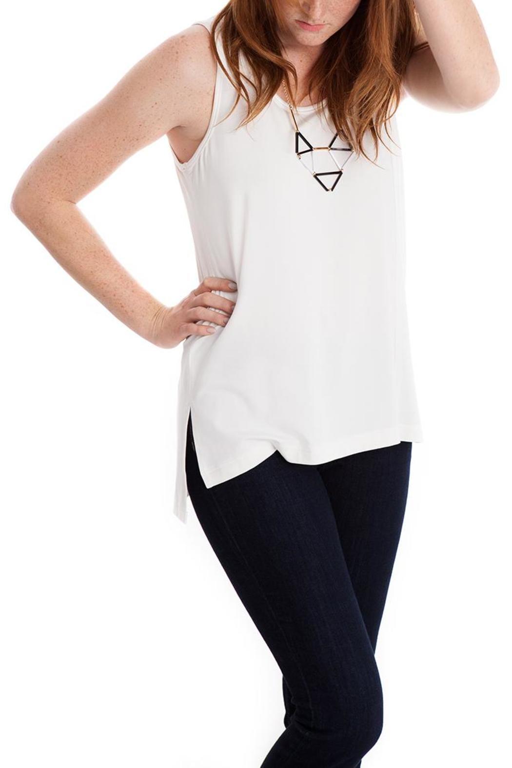 Lovan M Cacia Creme Tank - Front Cropped Image