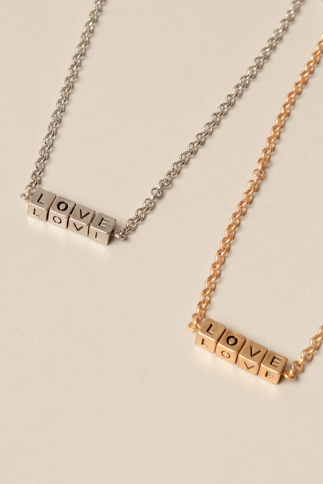 Fashion City LOVE Block Pendant Necklace - Front Cropped Image