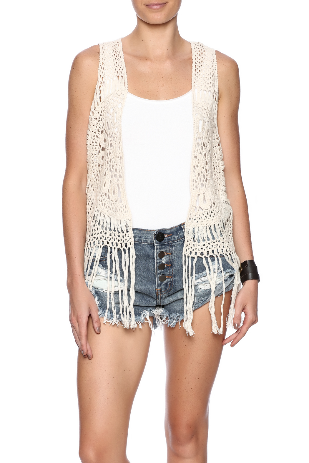 Love By Design Crochet Fringe Vest From Los Angeles By Ashleys