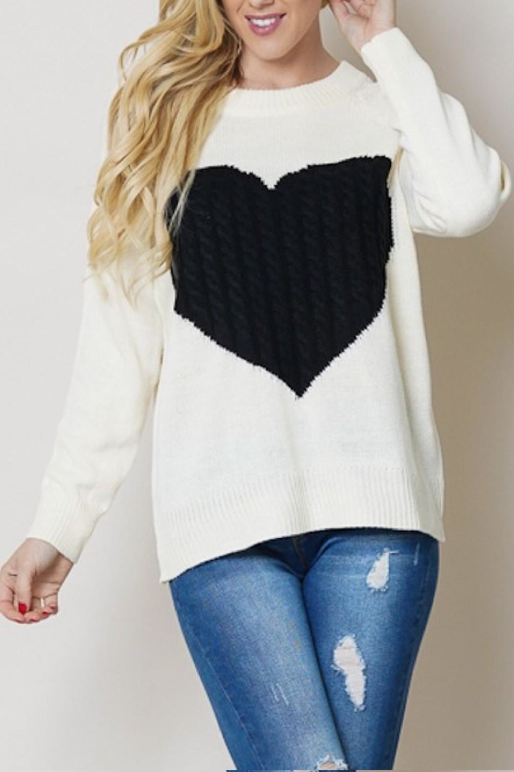OC Avenue Love Heart Sweater - Front Cropped Image