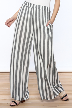 Love in  Ivory And Charcoal Stripe Pants - Product List Image