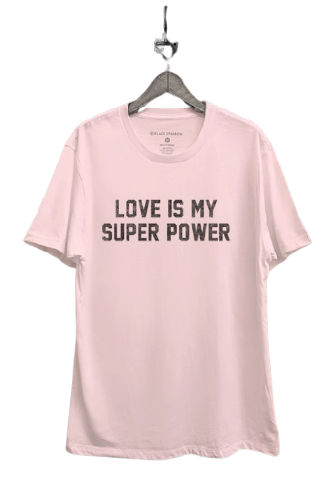 Black Sparrow Love Is My Superpower Tee - Front Cropped Image