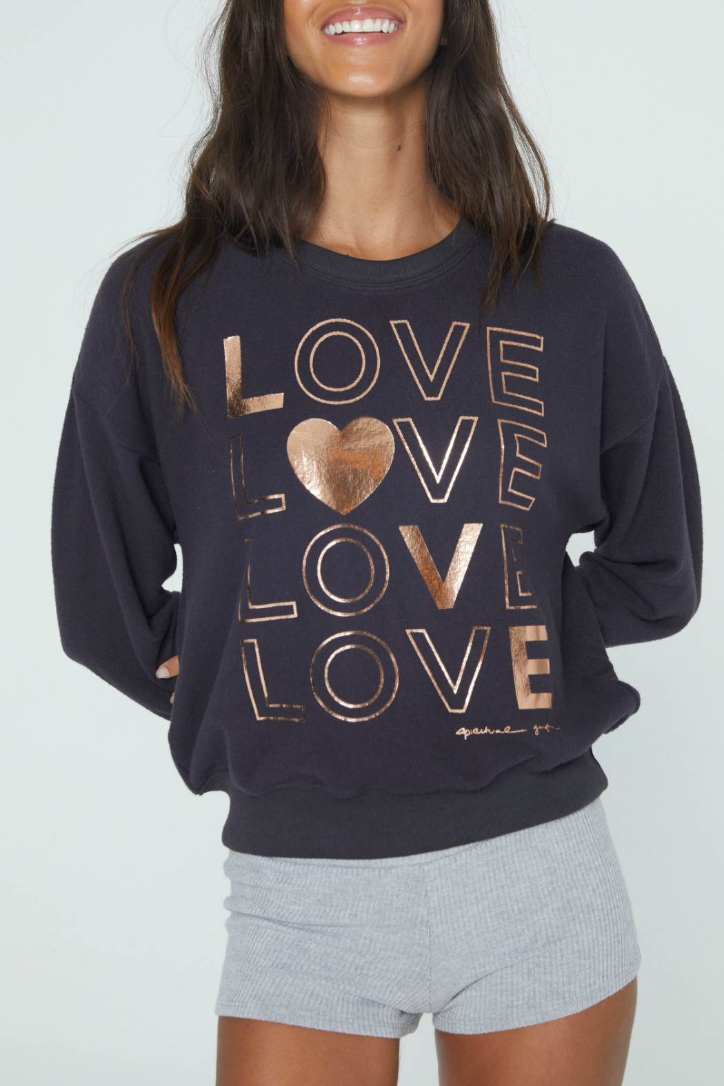 SPIRITUAL GANGSTER Love Malibu Crew Neck Pullover - Front Full Image