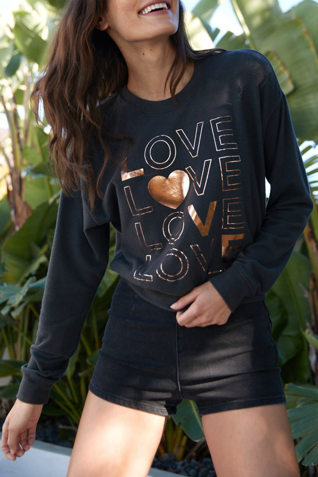 SPIRITUAL GANGSTER Love Malibu Crew Neck Pullover - Front Cropped Image