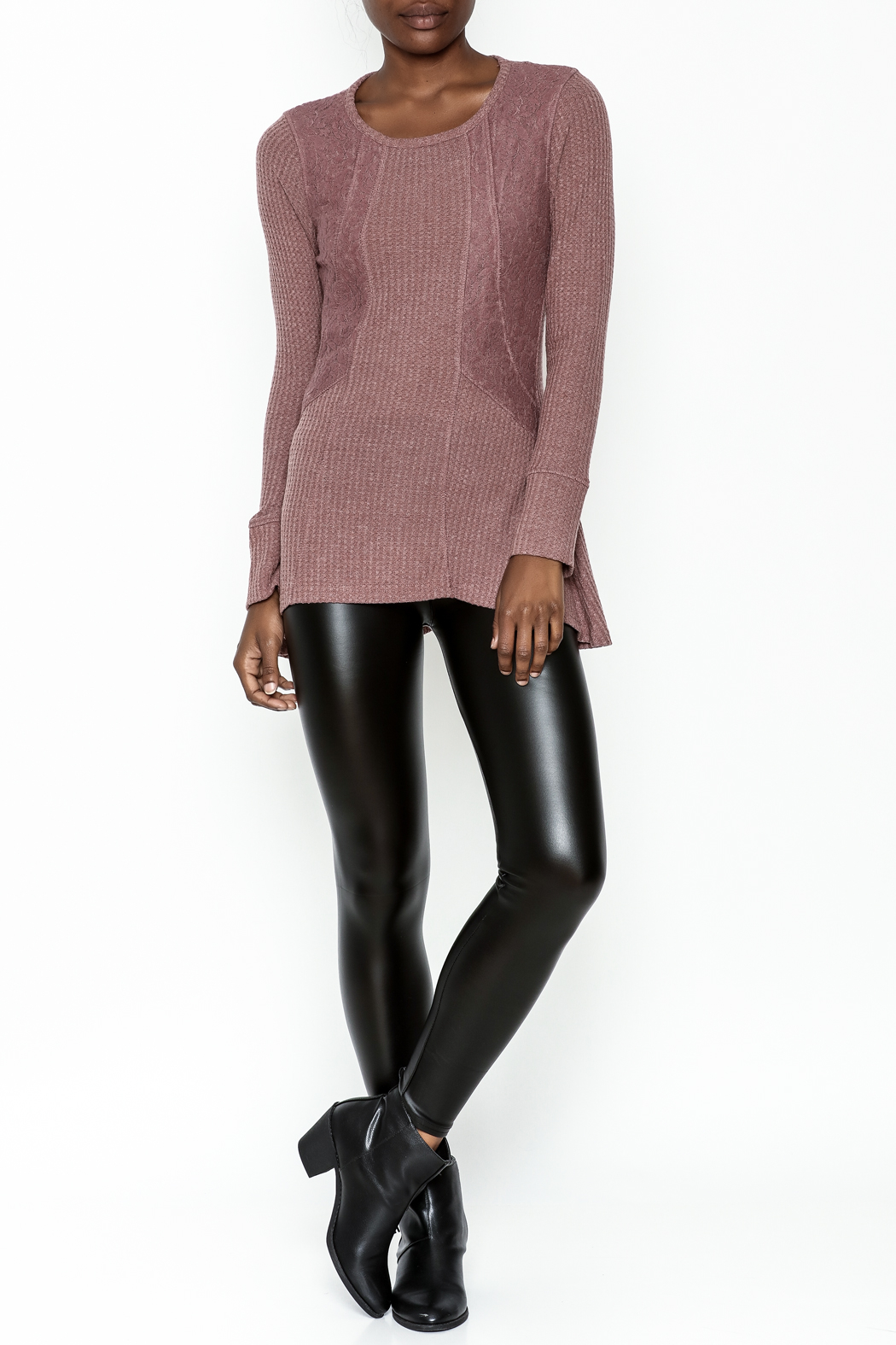 Love Mauve Lace Top - Side Cropped Image