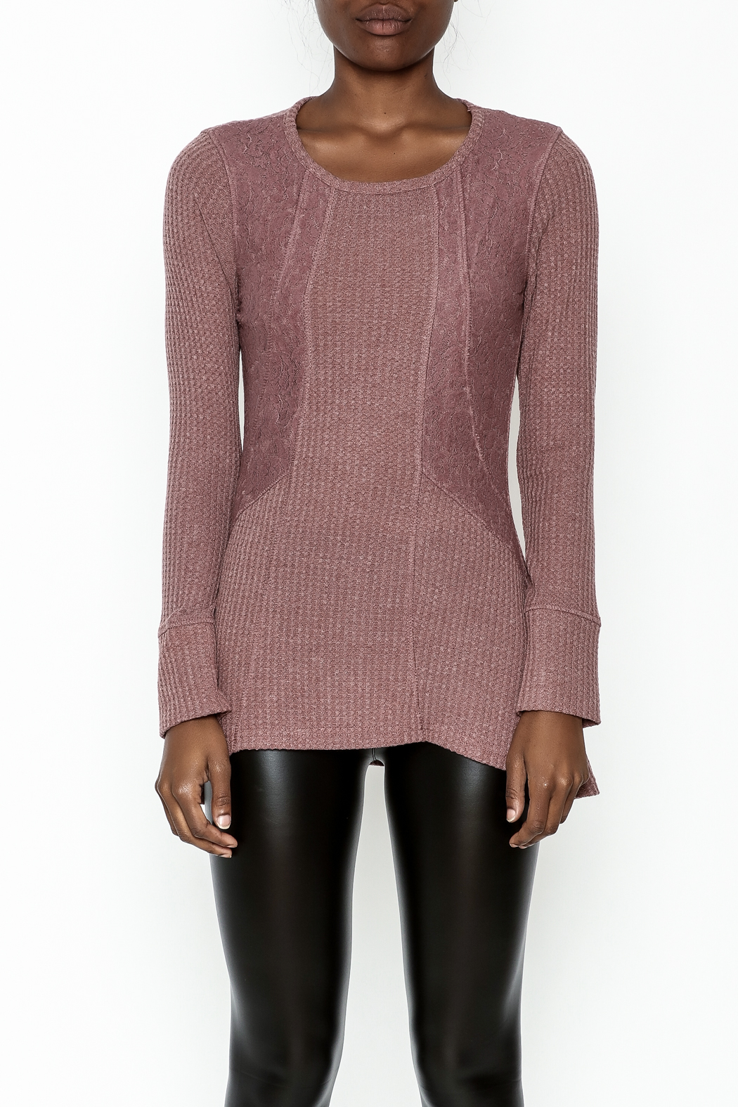 Love Mauve Lace Top - Front Full Image
