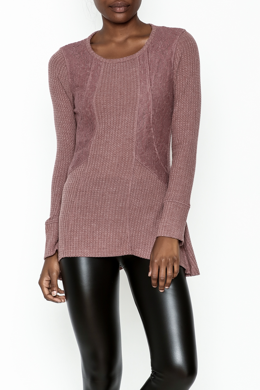 Love Mauve Lace Top - Front Cropped Image