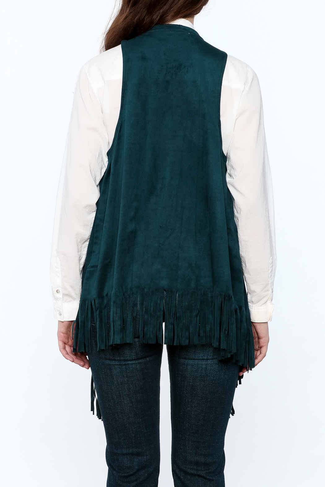 LOVE ON A HANGER Faux Suede Vest - Back Cropped Image