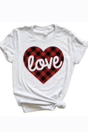 kissed Apparel LOVE Plaid Heart Graphic Tee - Front full body