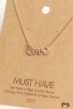 Fame Accessories Love Print Rose Gold Necklace - Alternate List Image