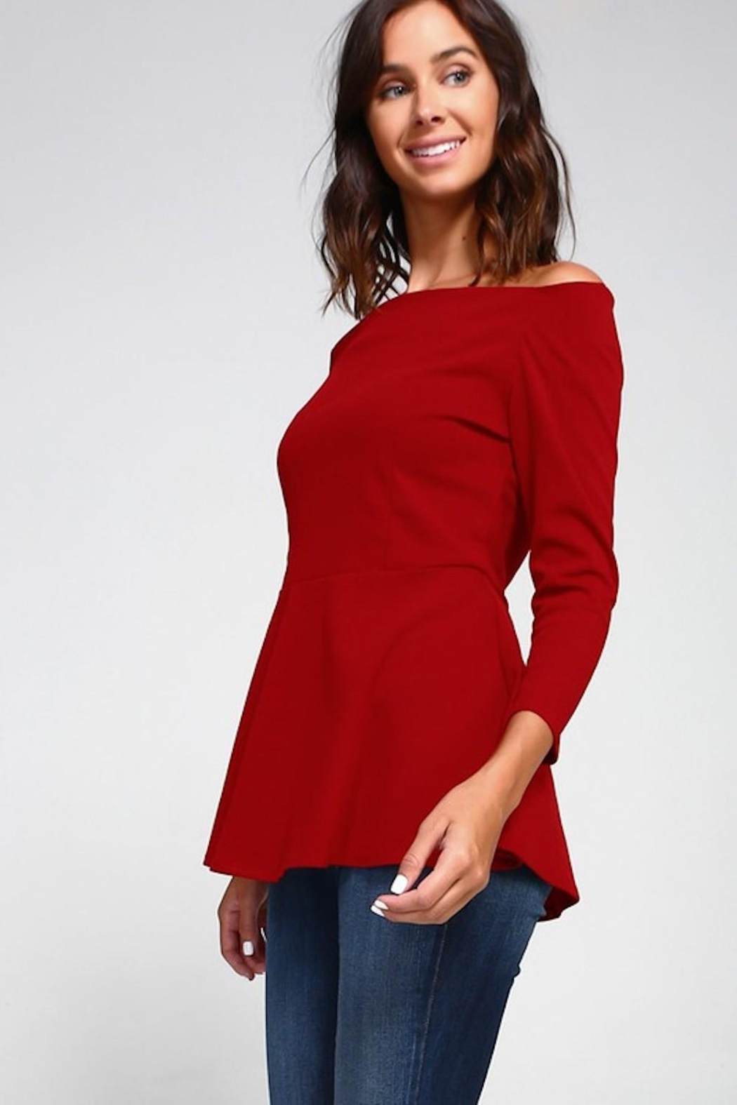 2 Hearts Love Red Blouse - Front Full Image