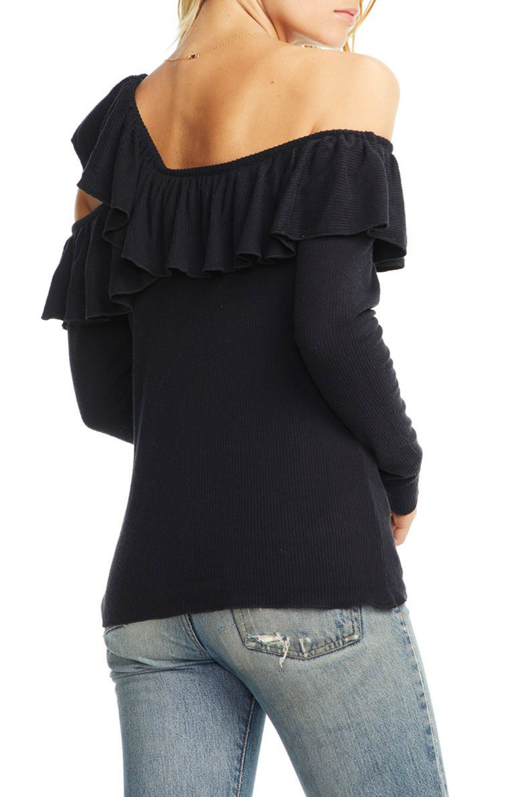 Chaser Love Rib One Shoulder Sweater - Side Cropped Image