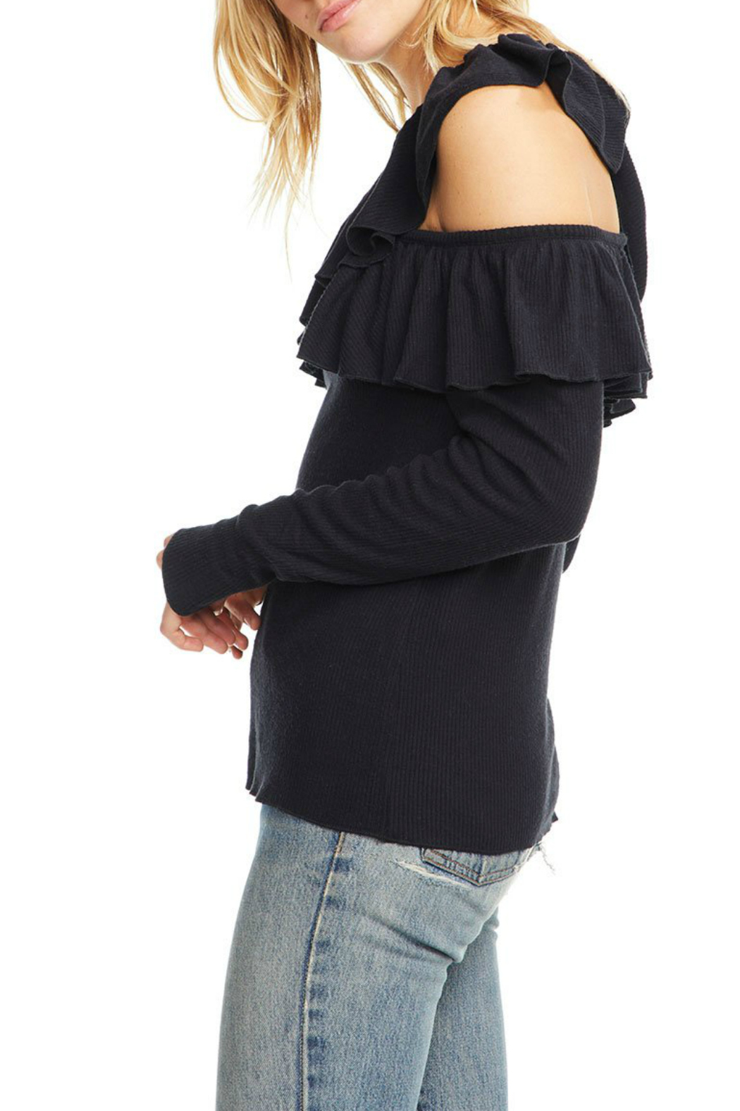 Chaser Love Rib One Shoulder Sweater - Front Full Image