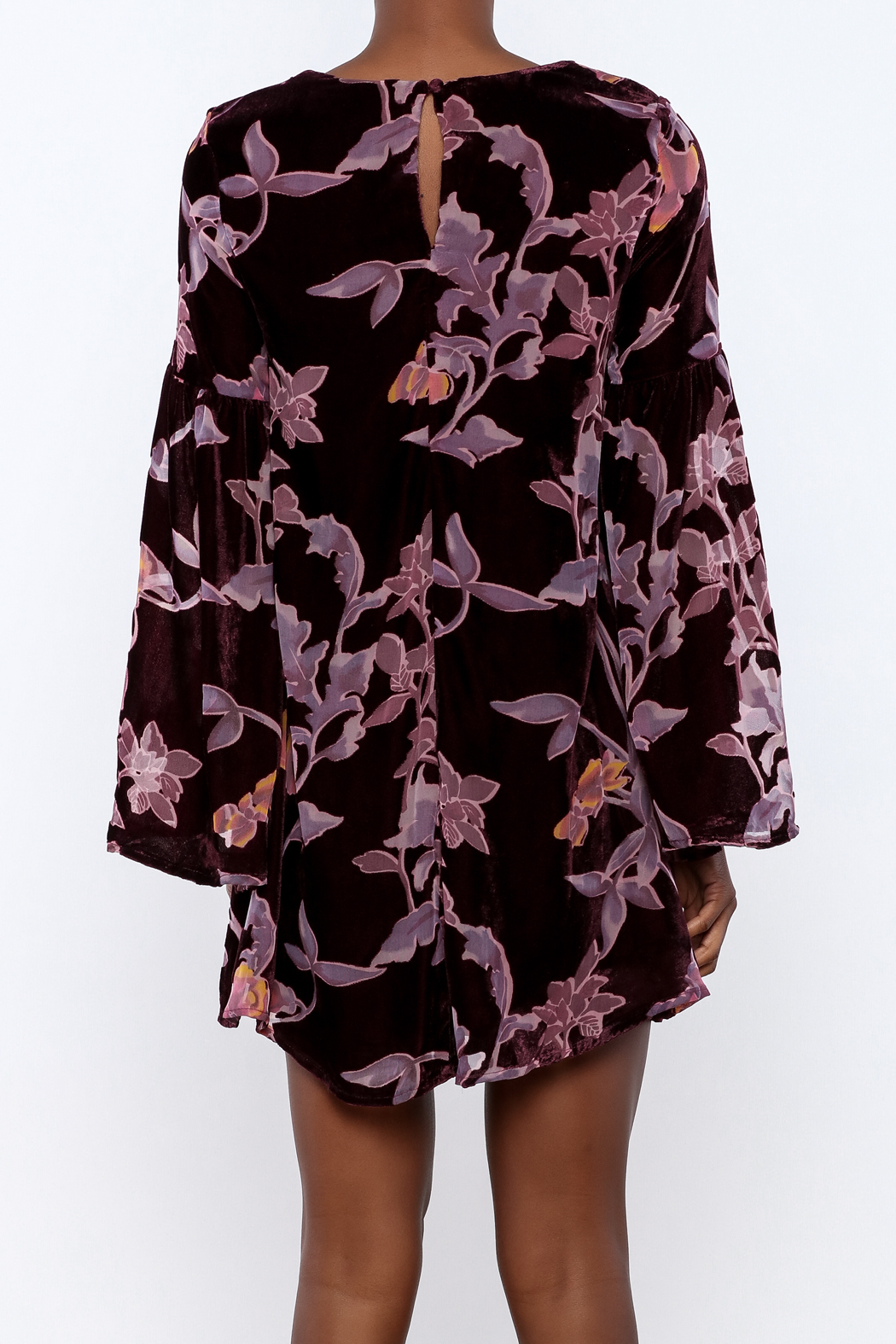 LoveRiche Wine Velour Floral Dress - Back Cropped Image