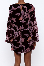 LoveRiche Wine Velour Floral Dress - Back cropped