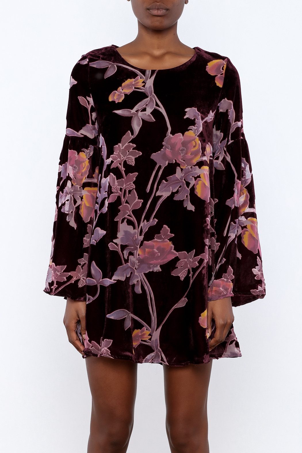 LoveRiche Wine Velour Floral Dress - Side Cropped Image