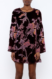 LoveRiche Wine Velour Floral Dress - Side cropped