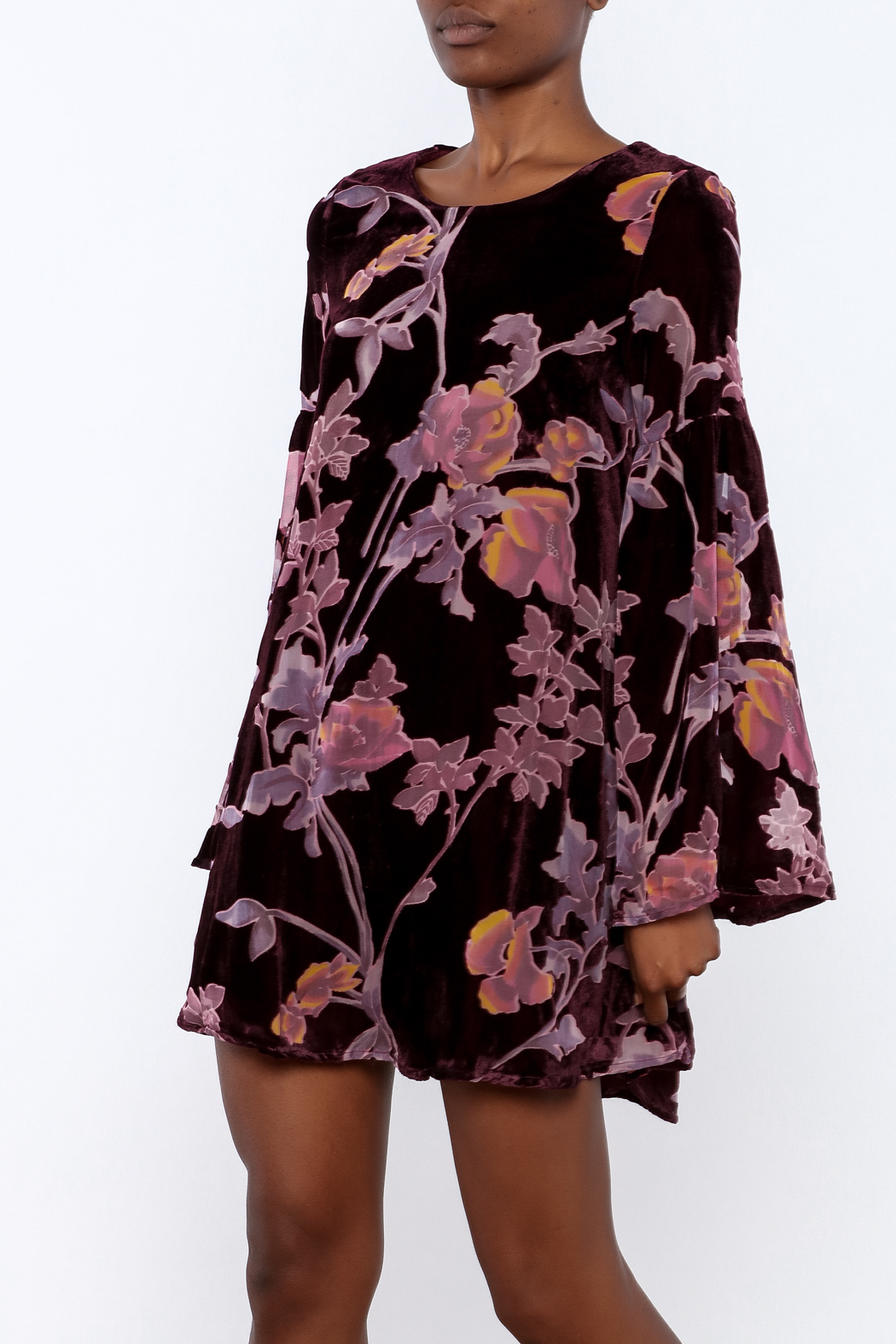 LoveRiche Wine Velour Floral Dress - Main Image