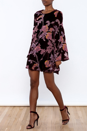 LoveRiche Wine Velour Floral Dress - Front full body