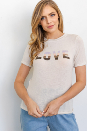 Gilli  LOVE Rollup Sleeve Graphic Tee - Product Mini Image