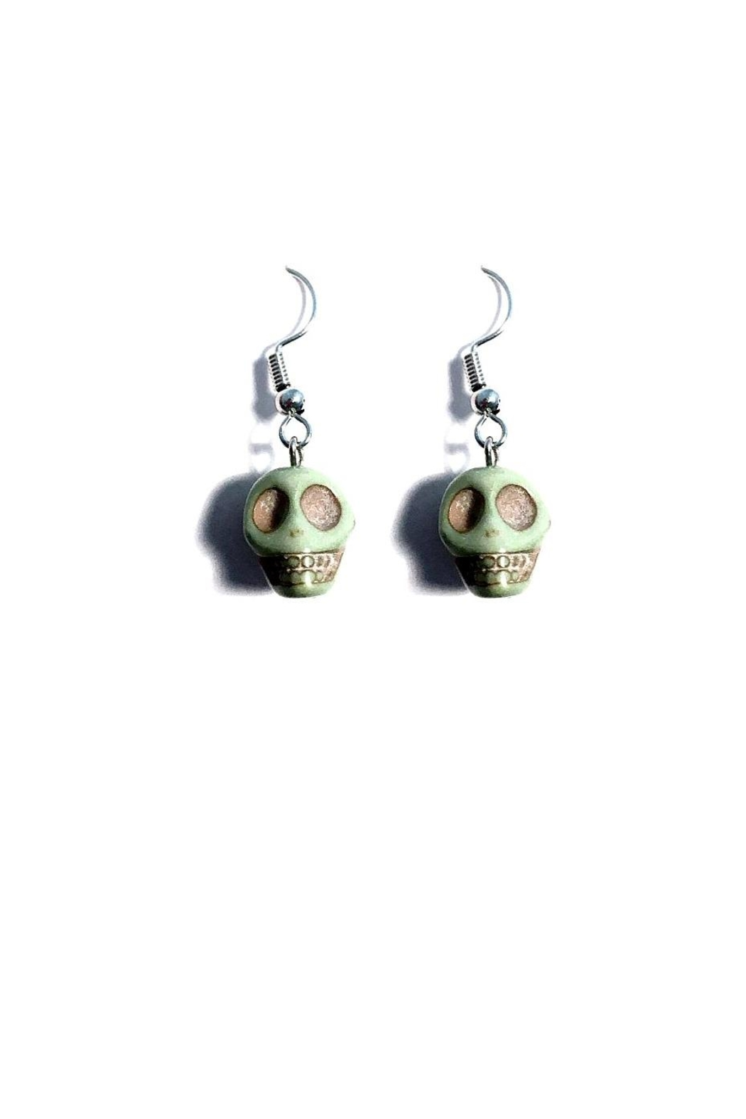 Love's Hangover Creations Green Skull Earrings - Front Cropped Image