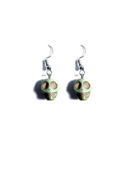 Love's Hangover Creations Green Skull Earrings - Front cropped