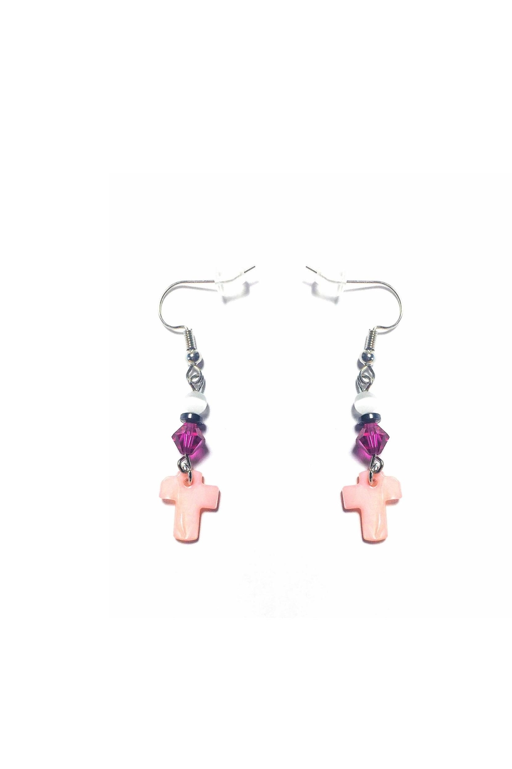 Love's Hangover Creations Mother-Of-Pearl Cross Earrings - Main Image