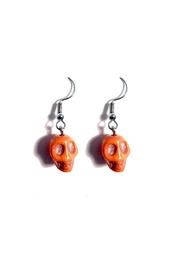 Love's Hangover Creations Orange Skull Earrings - Product Mini Image