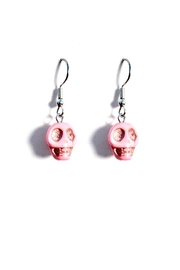 Love's Hangover Creations Pink Skull Earrings - Front cropped