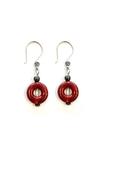 Shoptiques Product: Red Ceramic Earrings