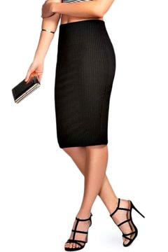 Shoptiques Product: Ribbed Black Skirt