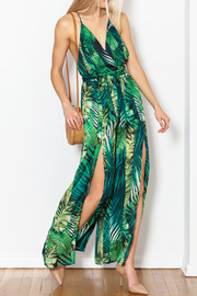 Love Song Leaf Print Jumpsuit - Front cropped