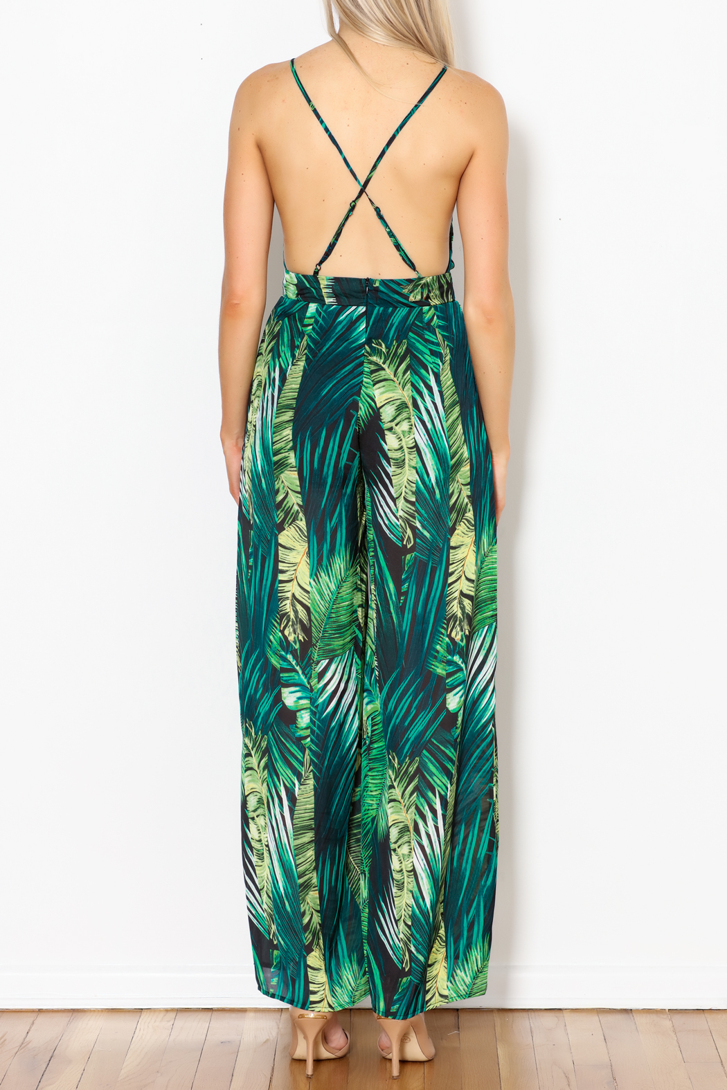 Love Song Leaf Print Jumpsuit - Back Cropped Image