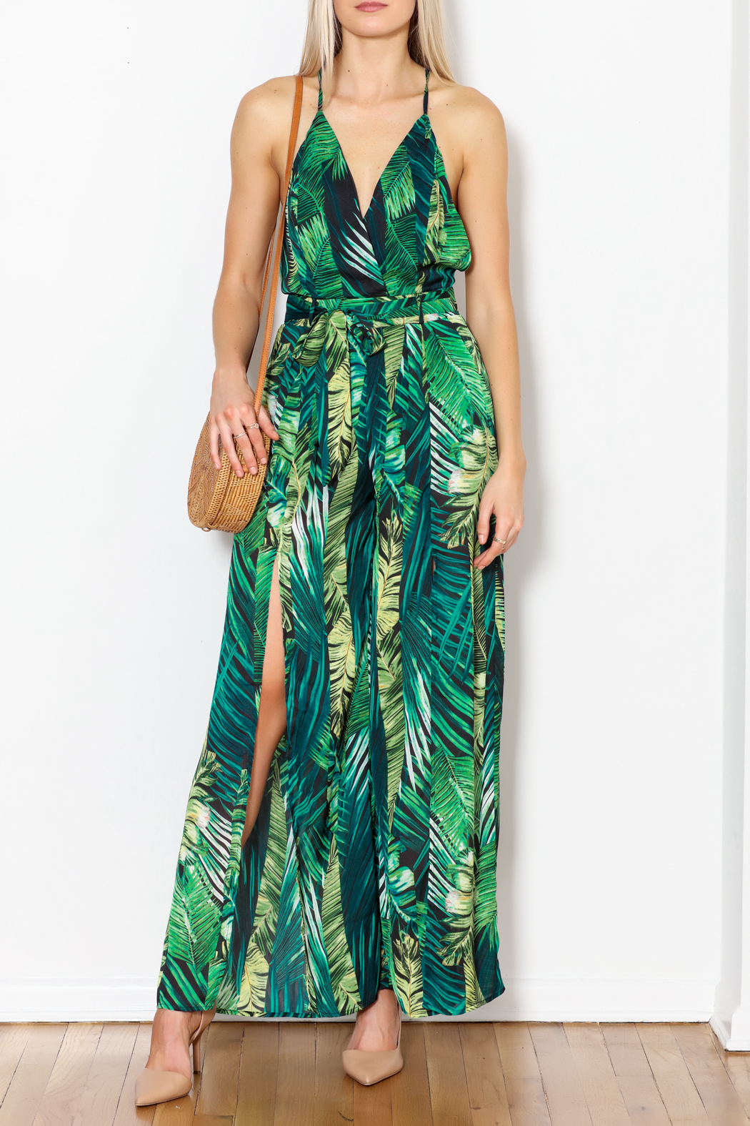 Love Song Leaf Print Jumpsuit - Side Cropped Image