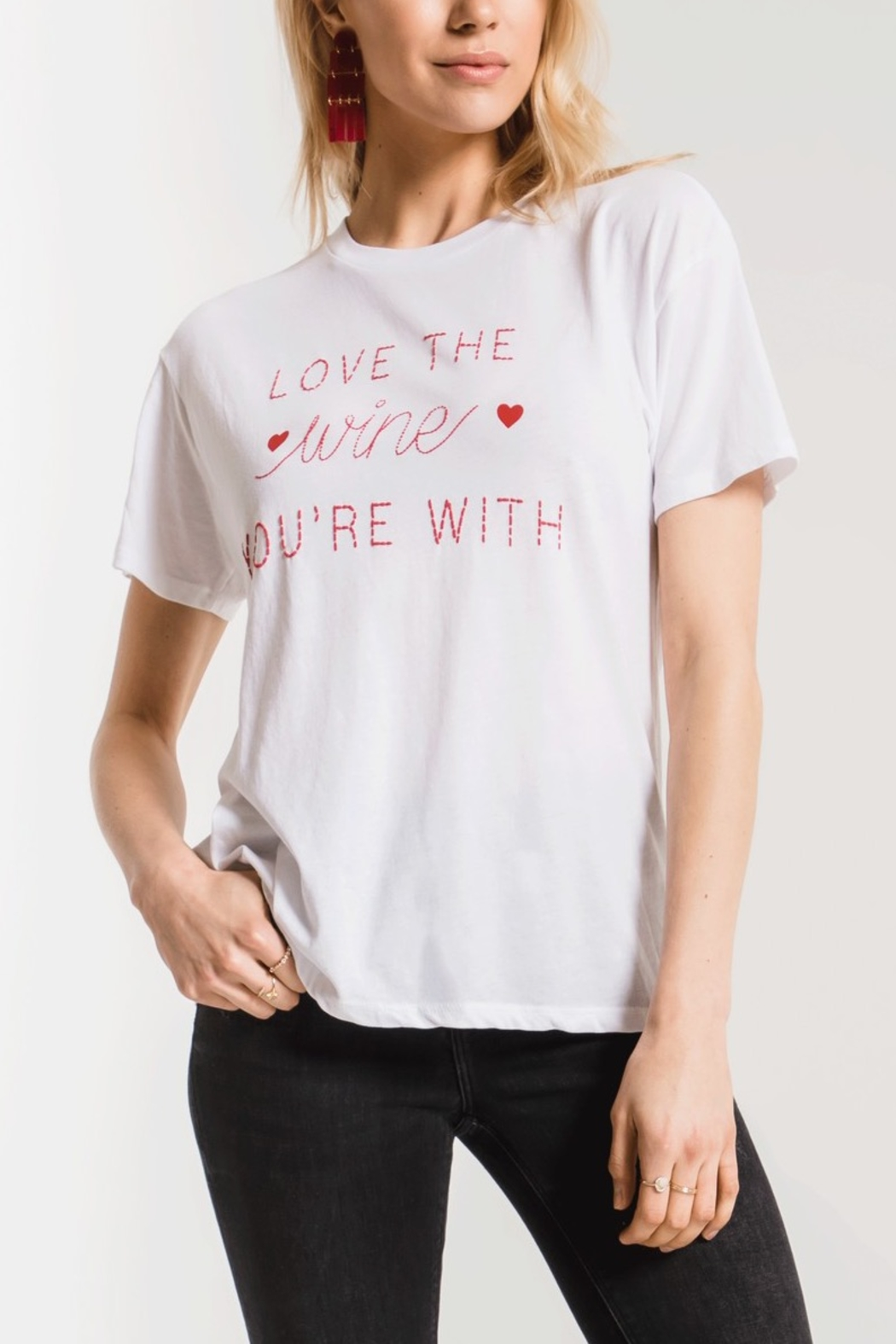 z supply Love the Wine You're With Tee - Front Cropped Image