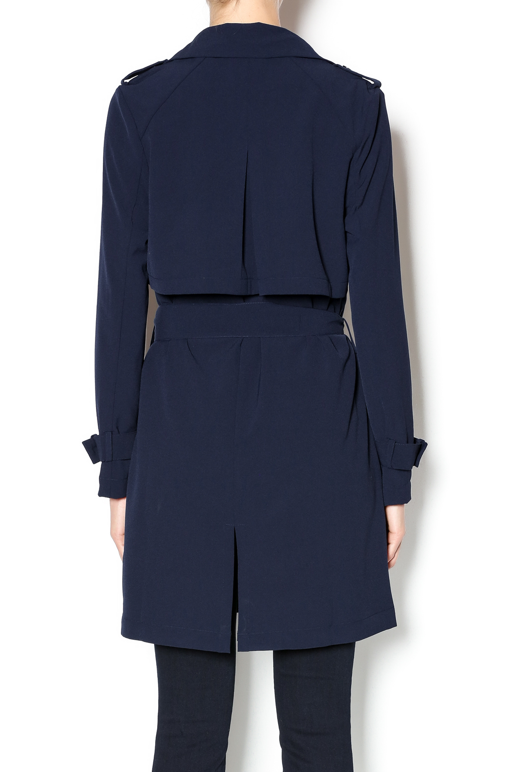 Love Tree Dressy Trench Coat - Back Cropped Image