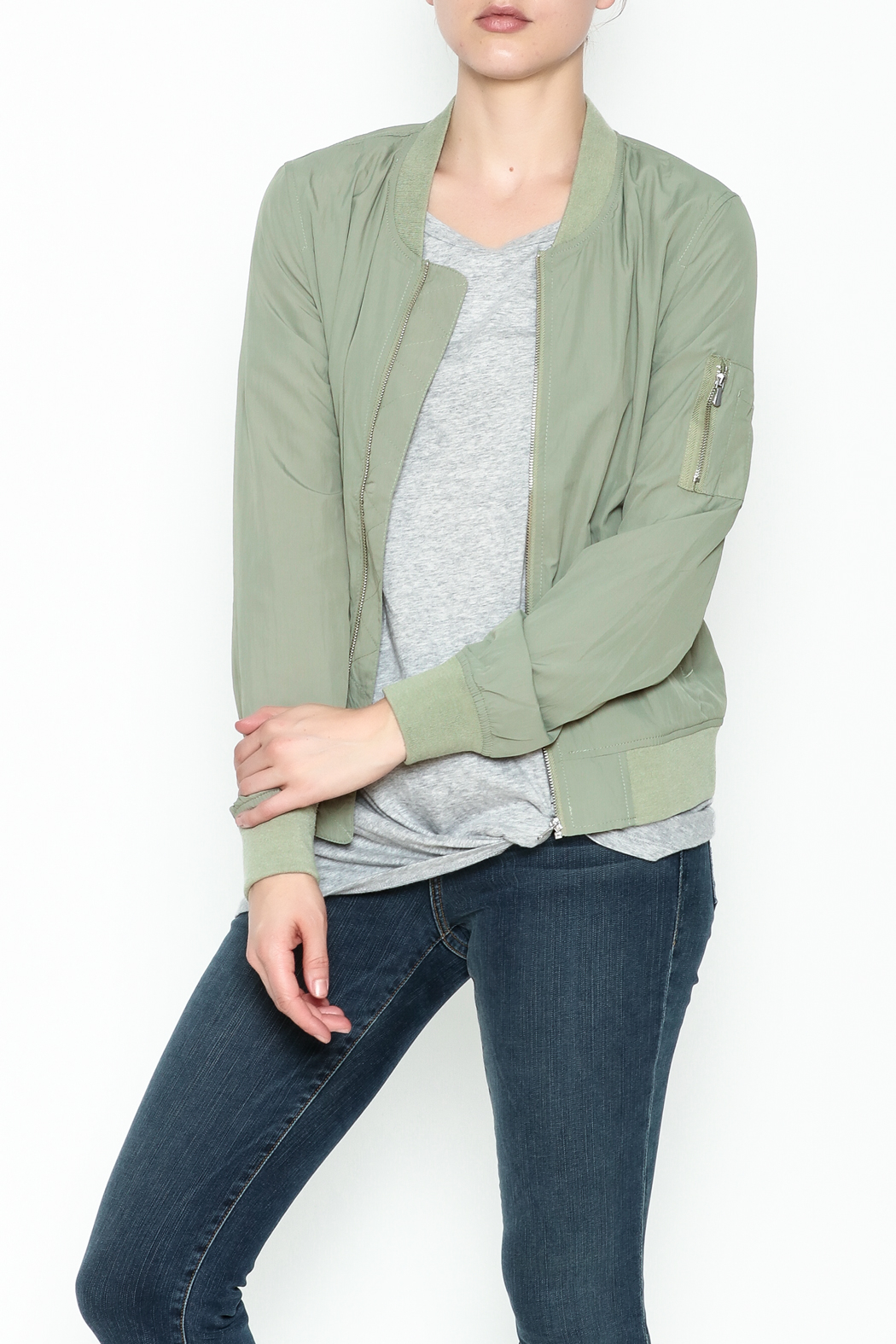 Love Tree Lightweight Olive Jacket - Front Cropped Image
