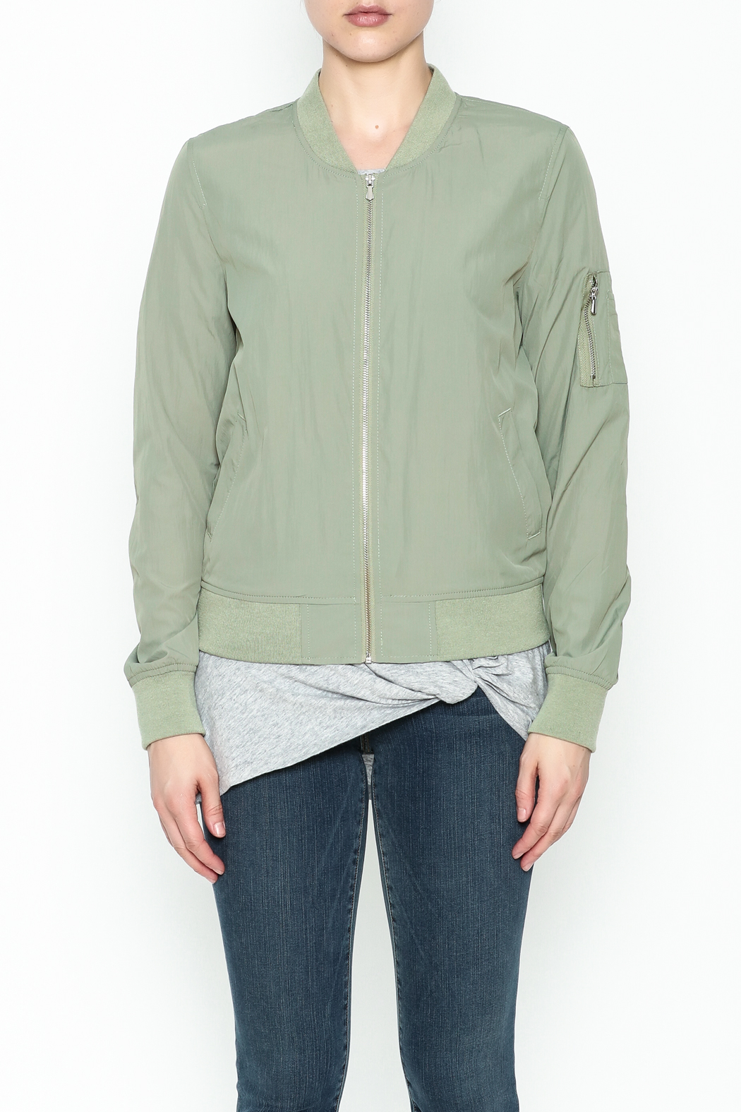 Love Tree Lightweight Olive Jacket - Front Full Image