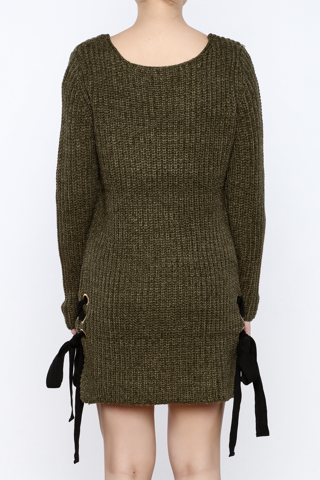 Love Tree Olive Sweater Dress - Back Cropped Image