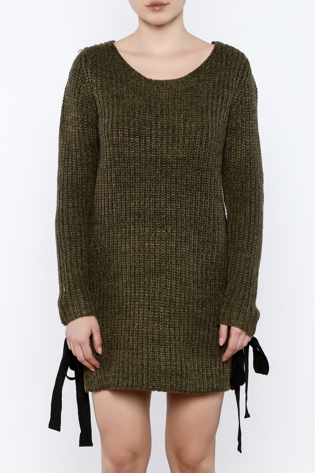 Love Tree Olive Sweater Dress - Side Cropped Image